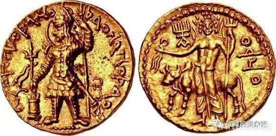 | 韦苏提婆一世 1第纳尔金币 公元190-230国王手持三叉戟供奉祭坛(正)手持三叉戟以及束头带的湿婆站像 后面是神牛南迪(反)