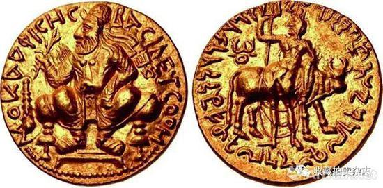 | 闫膏珍 2第纳尔金币 公元105-127戴冠束带国王蹲像(正)湿婆以及神牛南迪(反)