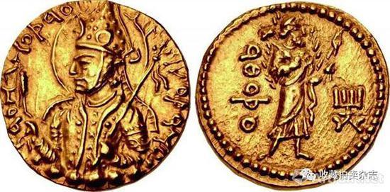 | 胡韦色迦 1第纳尔金币 公元152-192国王盛装半身像(正)一手拿锤子一手拿火钳的火神阿施狩(反)