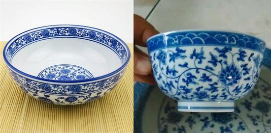 这个,左边是超市里的仿青花碗,右边是青花碗。
