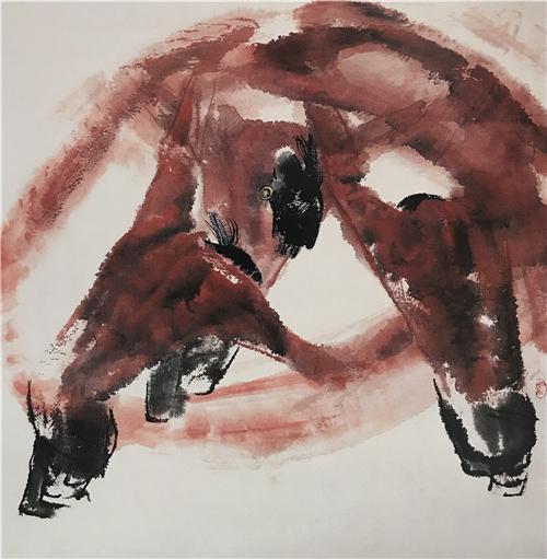 《高原之舞》68×68cm 1986年