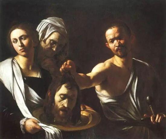 《莎乐美收到施洗约翰的头》1607-10 藏于意大利那不勒斯慈爱山丘教堂