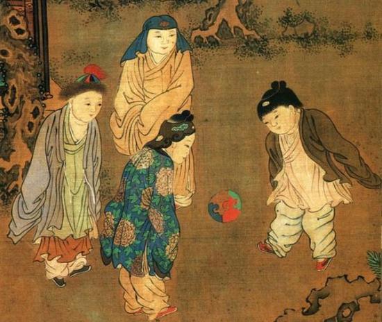 宋 苏汉臣《长春百子图卷》(局部),现藏于台北故宫博物院。