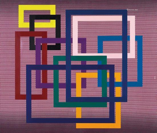 ▲赵要《很有想法的绘画III-250》压克力、织物裱于画布 135×160cm 2012年作 2018香港佳士得成交价:32.5万港元