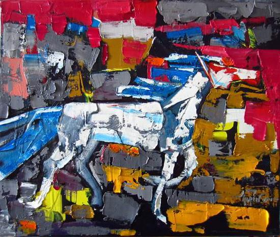 新吉勒呼《游离者》油画50X60cm2018