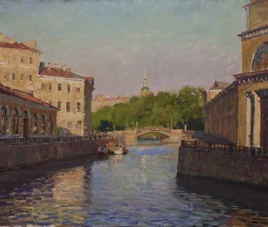 奥夫恰科夫作品《傍晚·米哈伊洛夫斯克宫殿》