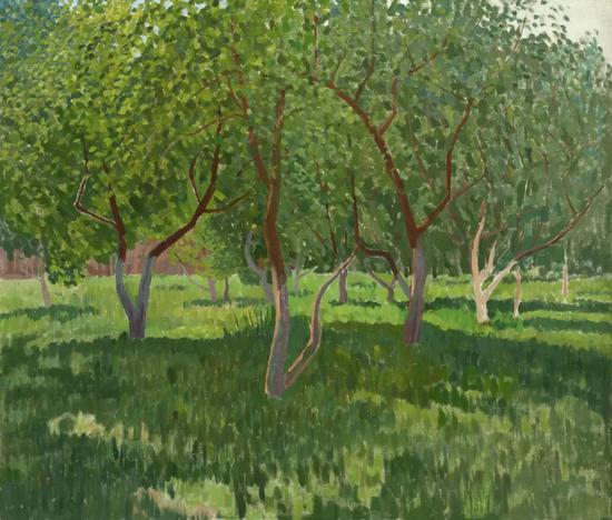 西多罗夫《阳光下的果园》布面油画80×93cm 2002