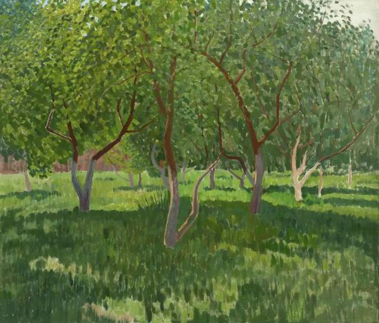 西多罗夫《阳光下的果园》布面油画 80×93cm 2002年