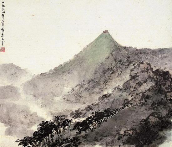 《韶峰耸翠》镜心 纸本设色 48x56.2cm 1959年6月