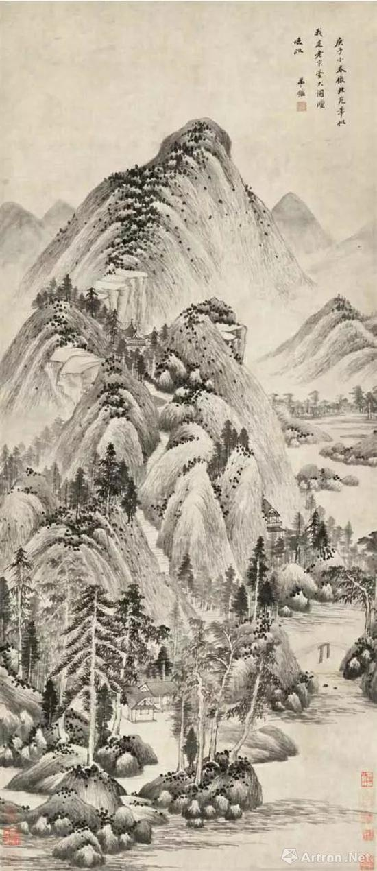[清]王鉴临董源山水图167cm×72.5cm纸本墨笔1660年王南屏旧藏