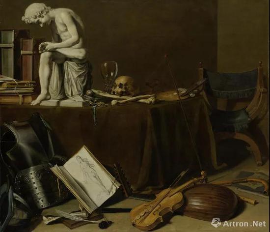 ▲彼得·克莱兹《带拔刺少年的Vanitas》1628年 板上油画 70.5x80.5cm