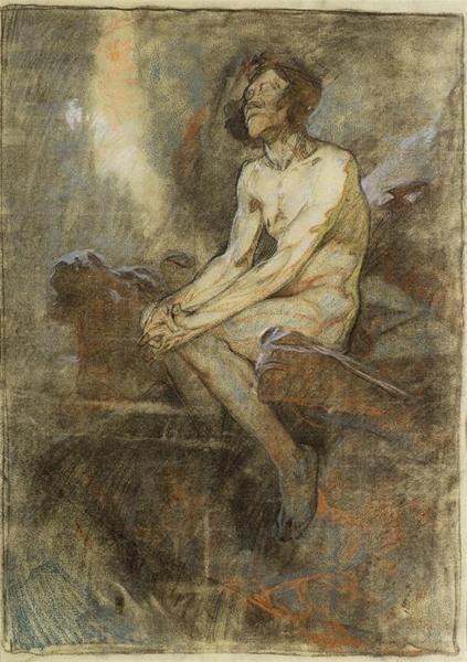 慕夏《岩石上的裸体》19世纪90年代末 粉彩纸本