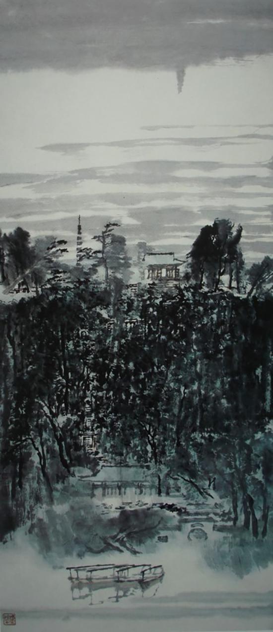 童中焘,《西泠晚烟》,107x49cm,1992年