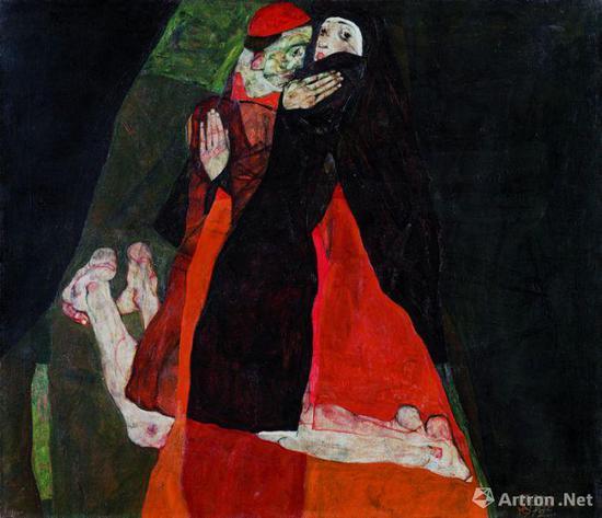 埃贡·席勒作品向老师克林姆特的致敬之作