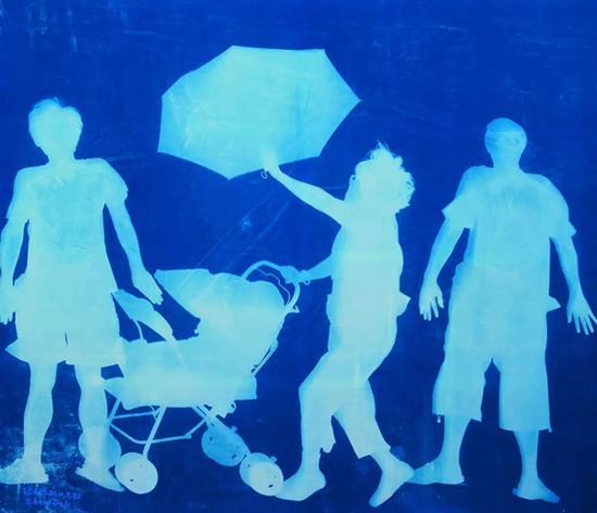 张大力《生活-2》Life-2 纯棉布蓝晒 Cyanotype Photogram Mounted on Fine Linen 240×280cm 2011