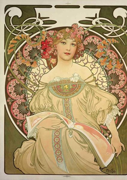 慕夏《遐想》1897年 彩色石版画