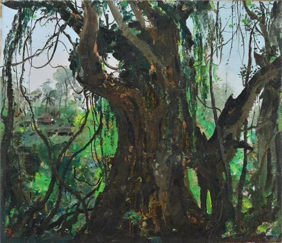 2018华艺秋拍的吴冠中作品《西双版纳榕树》估价:RMB 22,000,000-32,000,000