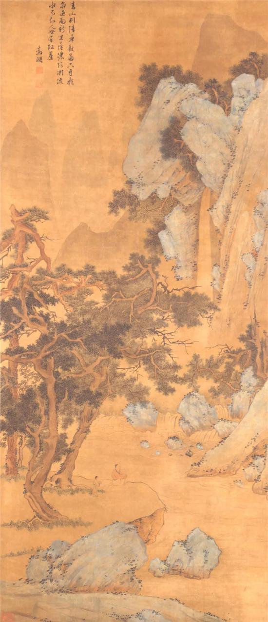 文征明《树下听泉图》(轴)
