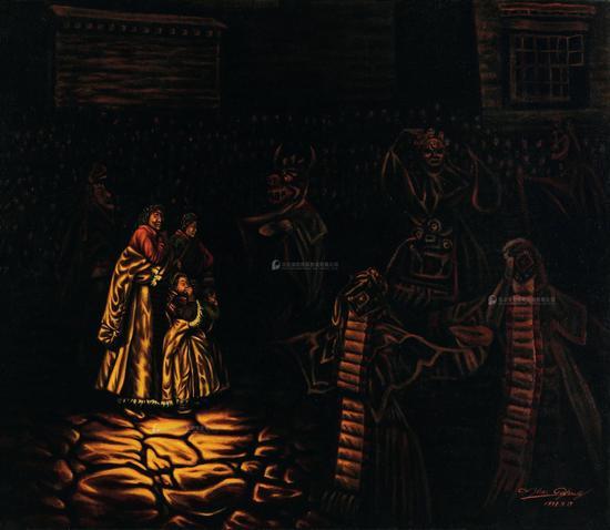 张焰《神舞》布面油画