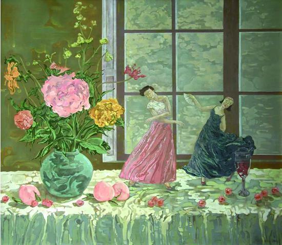 窗边的舞蹈 布面油画100cm×90cm 2013年