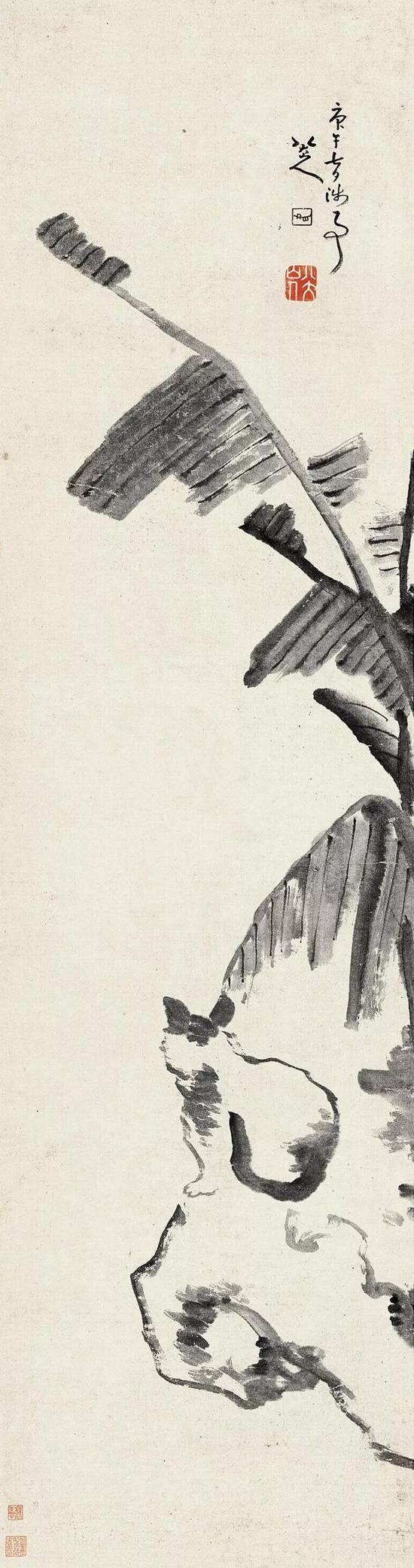《蕉荫猫石图》 1690 年