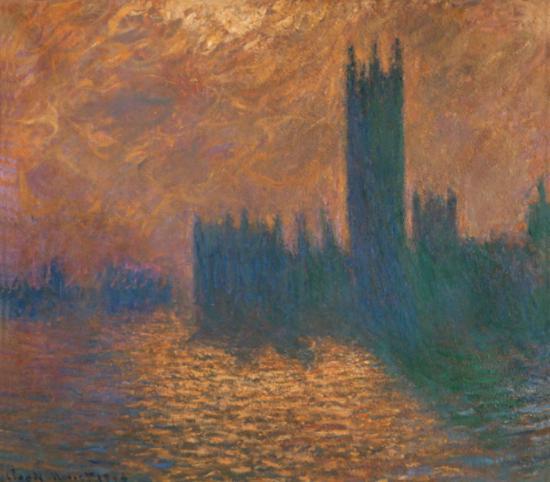 莫奈《暴雨天下的伦敦议会》1904年