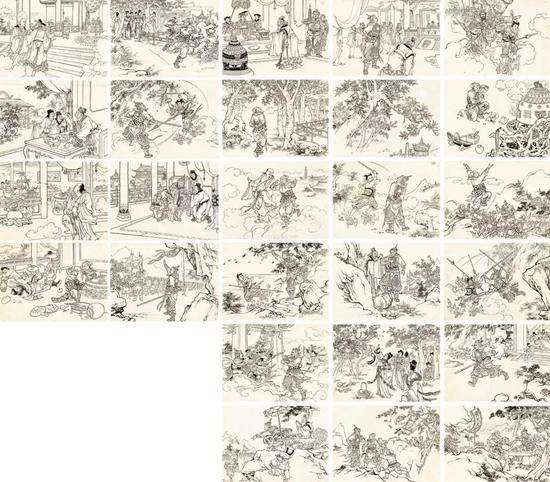 1956年作 孙悟空大闹天宫 连环画原稿(全) (二十六帧) 纸本 水墨线描