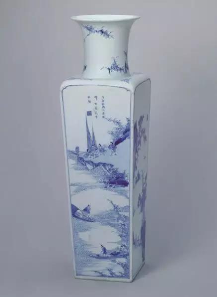 青花山水人物图方瓶 清康熙 故宫博物院