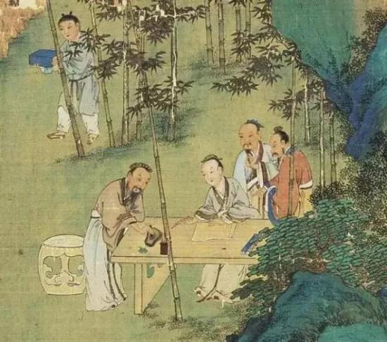 明 仇英《竹林七贤图》(局部)