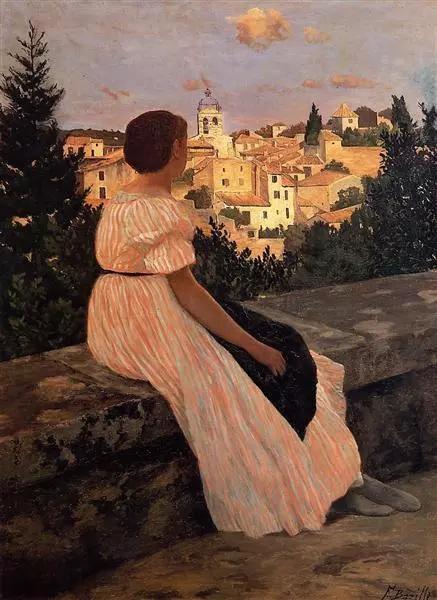 巴齐耶《粉色连衣裙》,布面油画,147×110cm,1864年
