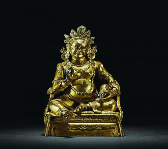 清乾隆铜鎏金黄财神像