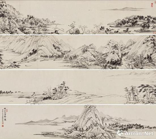 吴湖帆《临富春山图卷》 32.3×592.5cm1935年作