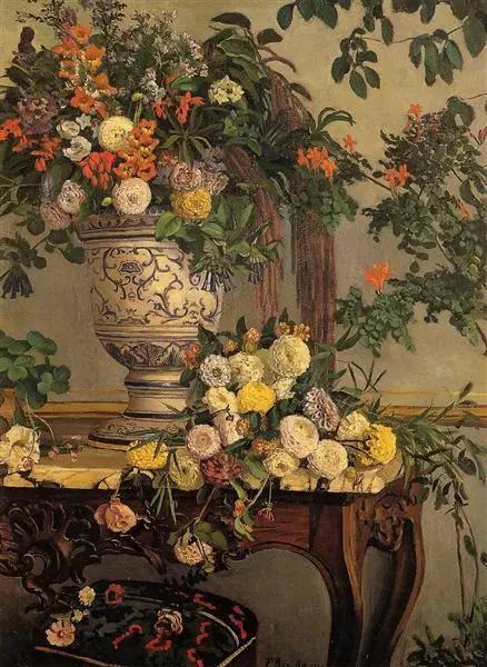 巴齐耶《花》,布面油画,1868年