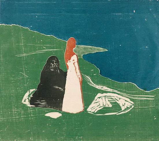 海边的两个女人 1898年 多色印刷木版画