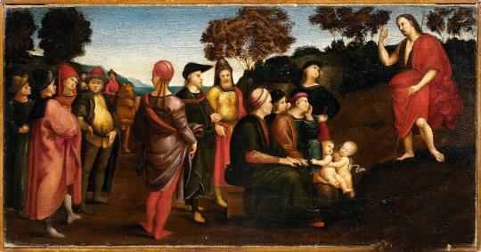 将展出的拉斐尔油画《施洗者圣约翰布道》
