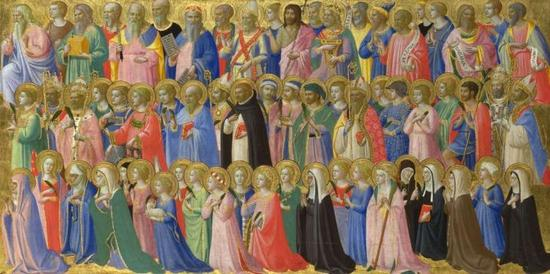 Fra Angelico,The Forerunners of Christ with Saints and Martyrs: Inner Right Predella Panel, 1423-4。 Image via The National Gallery, London。