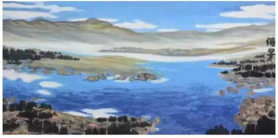 杨佴旻 潋滟 136x68cm 纸本设色 2018年