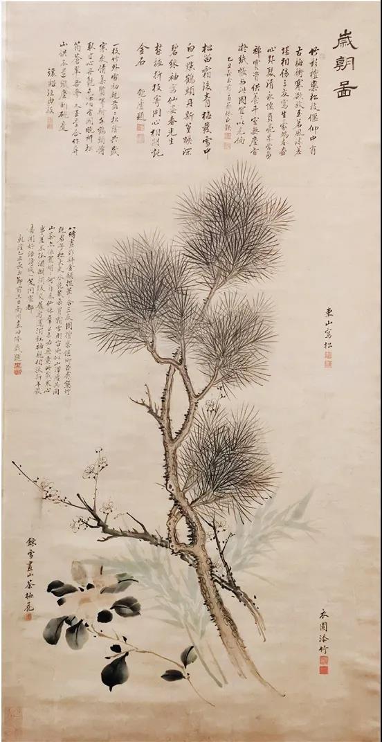 清 董邦达等 岁朝图 105×54cm 纸本设色广州艺术博物院藏