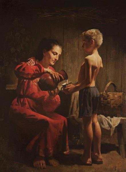 奥夫恰科夫作品《拿杯子的少年》