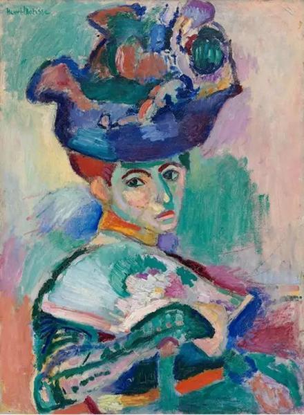 """马蒂斯的《戴帽子的女人》。斯泰因兄妹从1905年收藏至1915年,其后转卖给米盖尔和莎拉收藏至1948年。现藏旧金山MOMA的""""Elise S.Haas遗赠"""""""