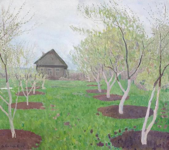 西多罗夫《开满鲜花的花园》布面油画89.5×100cm 2006