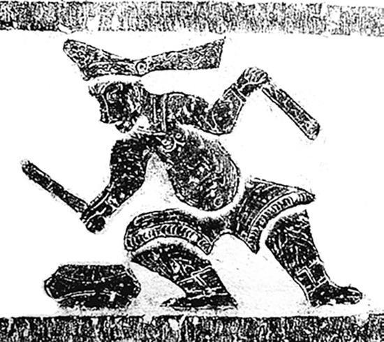 图5 临沂吴白庄汉墓出土头戴飘带型尖帽的胡人图像一