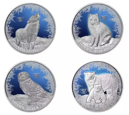 ▲2019极地动物镀铑银币