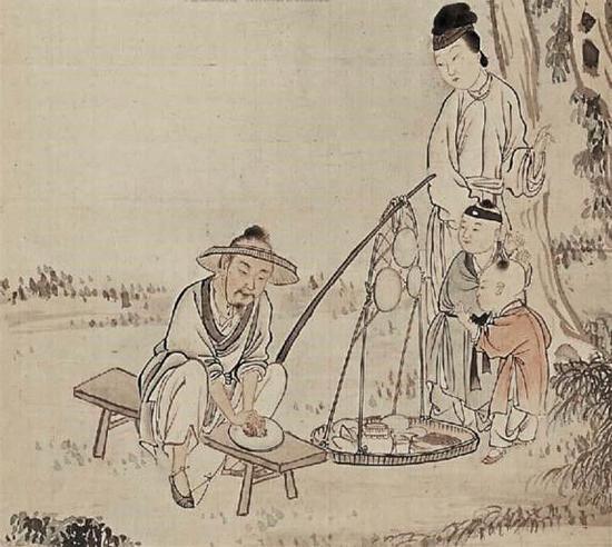 民国费丹旭绘《徐稚磨镜图》