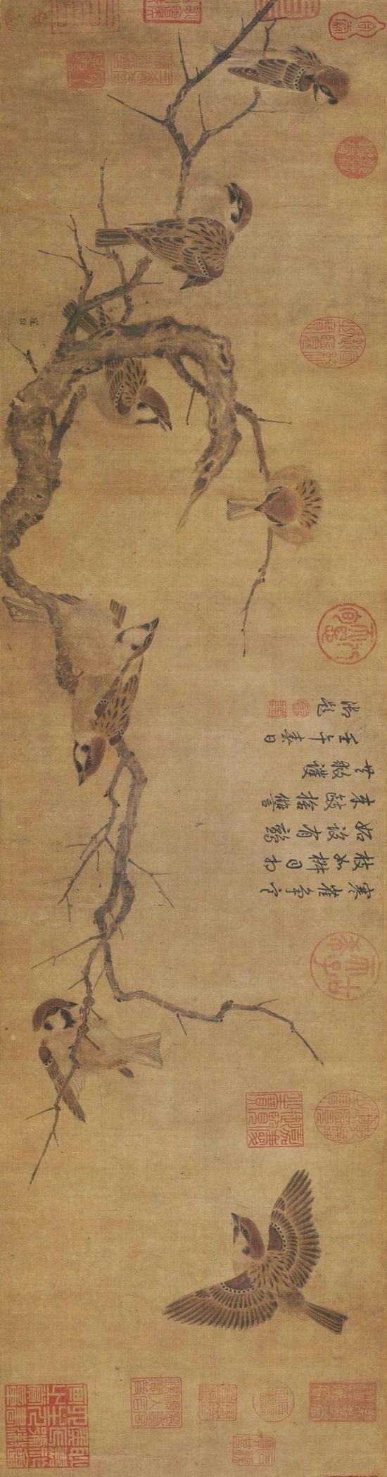 《寒雀图图卷》 崔白 23.5 × 101.4 cm 北京故宫博物院藏