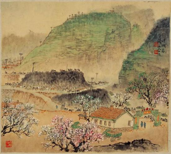 钱松喦 《煤城春》49.5×55.5cm 20世纪50年代