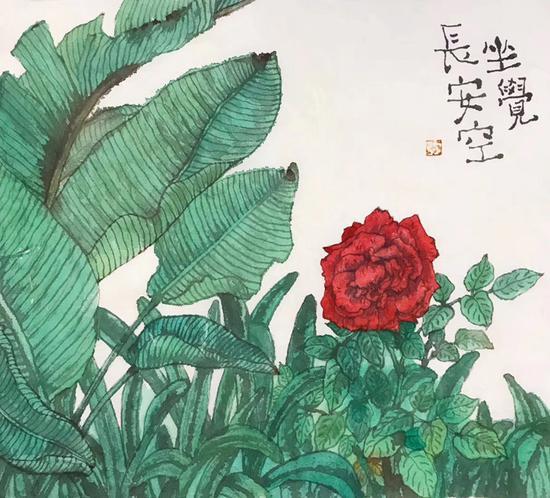李知弥画作《坐觉长安空》