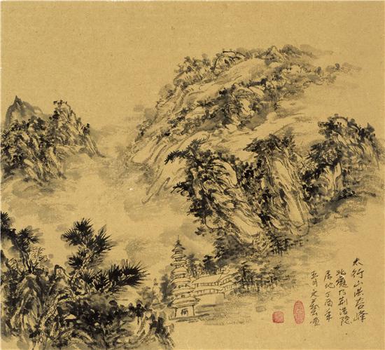 太行山红谷峰写生 48x48cm 2017年