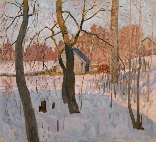西多罗夫《临近春日》布面油画 79×87 cm 1963