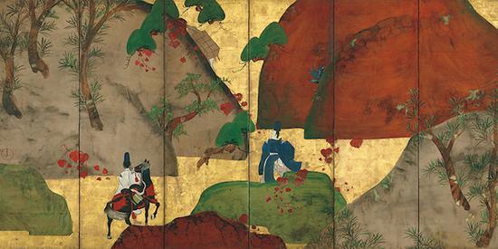 重要文化遗产 深江芦舟画 茑细道图屏风 江户时代(18世纪) 东京国立博物馆藏